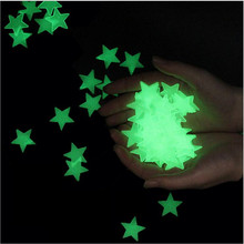 100PCS/lots 3D Star Glow Stars In The Night Luminous Wall Stickers For Kids Bedroom Self-adhesive 3CM Home Decorative Poster