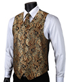 VE14 Gold Brown Paisley Top Design Wedding Men 100% Silk Waistcoat Vest Pocket Square Cufflinks Cravat Set for Suit Tuxedo