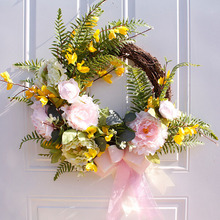 50cm Peony Wreath Hanging On The Wall Decoration Spring Garden Artificial Flower For Home Decor Walls New