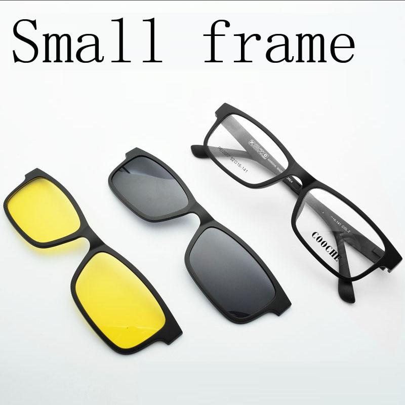 ff88a057bd Free Shiping Ultra-light Small Box Glasses Frame magnet Clip Sunglasses  Myopia Glasses Polarized Sunglasses