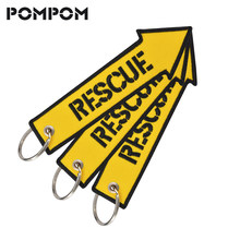 3 PCS/LOT POMPOM Rescue Keychains for Motorcycles and Cars Emboridery Customize kering ATV car Truck key Fobs llaveros jewelry(China)