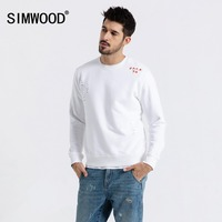 SIMWOOD 2019 Spring New Hoodies Men Fashion Ripped Hip Hop Sweatshirts Streetwear Embroidery Letter Hole Hoodie 190044