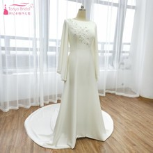 TANYA BRIDAL Flare Sleeve Soft Satin Wedding Dresses Miami