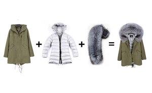 Image 4 - OFTBUY 2020 Real Fur Coat Winter Jacket Women Long Parka Natural fox Fur Collar Hood faux Fur Liner loose coat ins fashion new