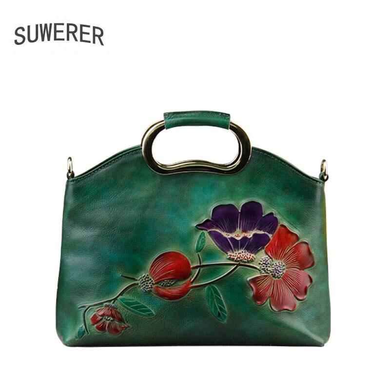 SUWERER 2018 Nouvelles femmes véritable sac en cuir célèbre marque de mode De Luxe de peau de vache sacs à main À La Main Gaufrage en cuir art sacs