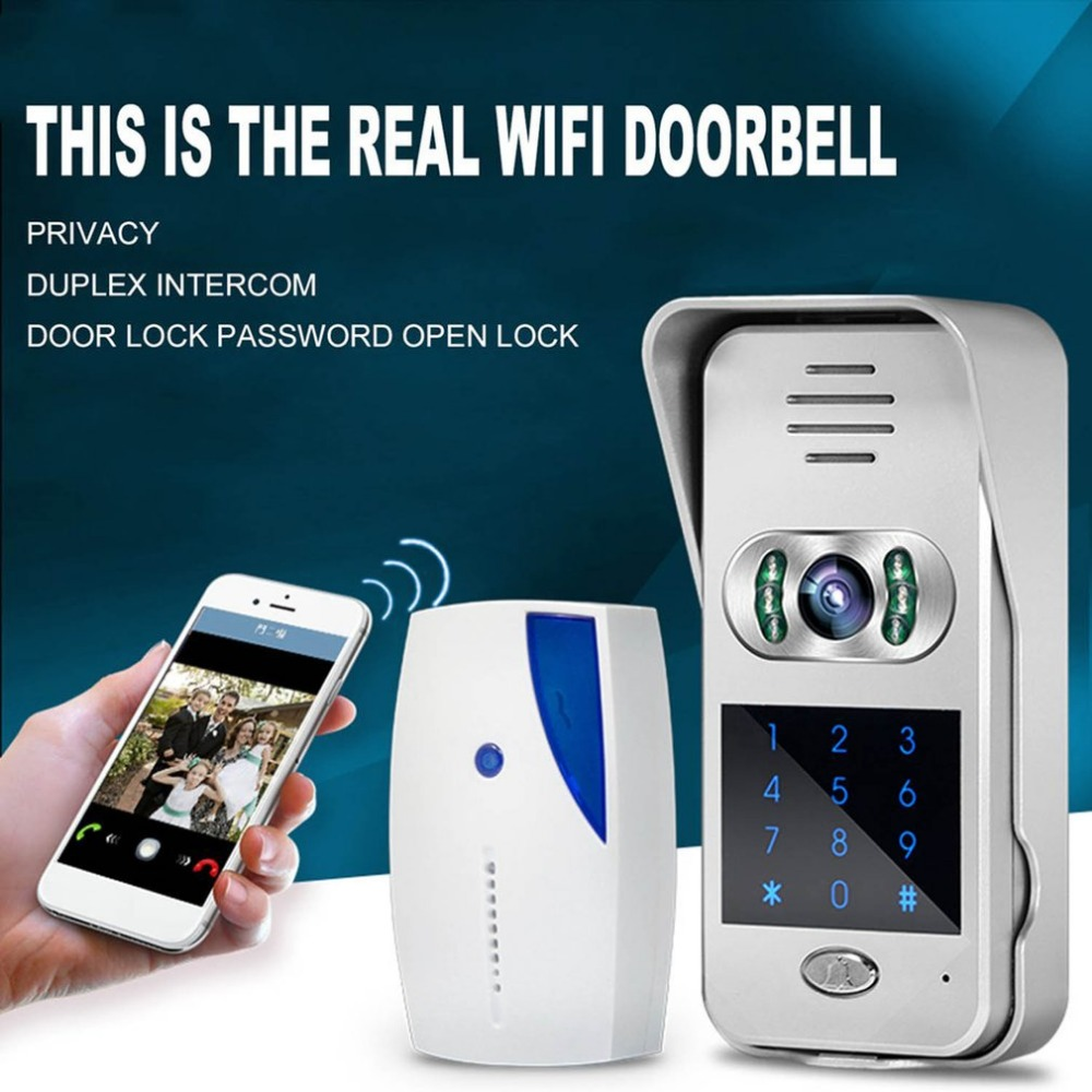 Intelligent Electronic Cat Eye WIFI Video Intercom Doorbell Home Wireless Calling Device Infrared Night Vision Sensor 2 receivers 60 buzzers wireless restaurant buzzer caller table call calling button waiter pager system