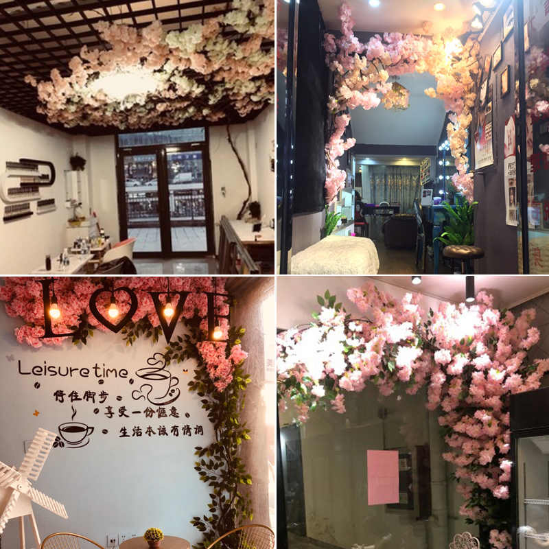 100cm flores de seda de largo melocotón Sakura flor Artificial Rosa boda decoración Rama de cerezo para decoración del hogar arco de boda