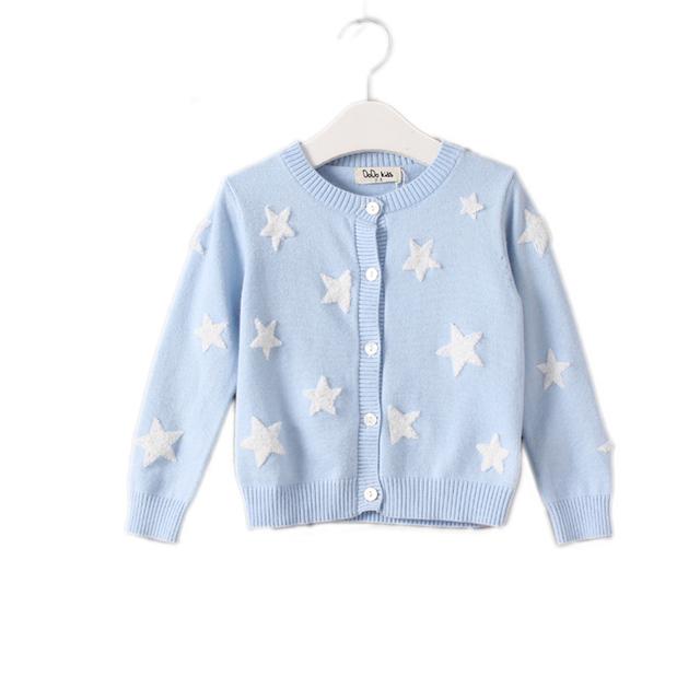 Inverno camisola de malha da menina 2017 do bebê roupas de menina Pentagrama impresso cardigan crianças único breasted algodão crianças pullover sólida