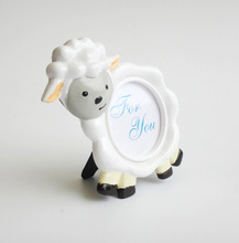 free shipping 50pcs/lot resin lovely sheep photo frame baby baptism party table place card holder decoration supplies souvenirs
