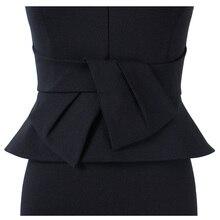 فستان فورمال أنيق بحزام من الخصر وسوستة أمامية