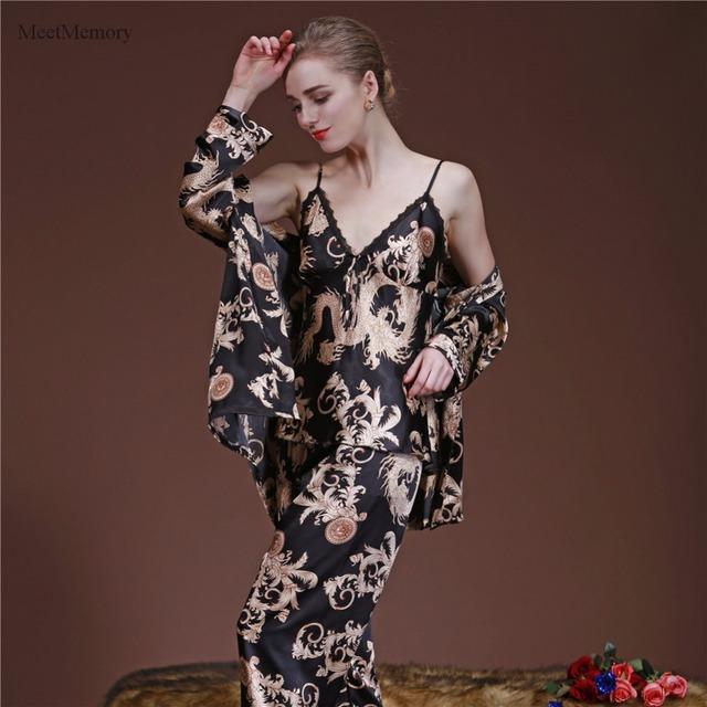 Dragón Chino de lujo Pijama 3 unids Pijamas de Satén de Seda ropa de Dormir Conjunto Loungewear Mujeres Primavera Verano Ropa de Hogar