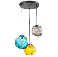 3 лампы скандинавского искусства разноцветные стеклянные подвесные светильники лаконичные алмазные обеденные кабинет Дизайнер подвесной