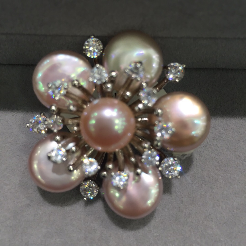 light pink color plum blossom brooch pins pendant double use natural fresh water pearl wintersweet brooch fashion women jewelry
