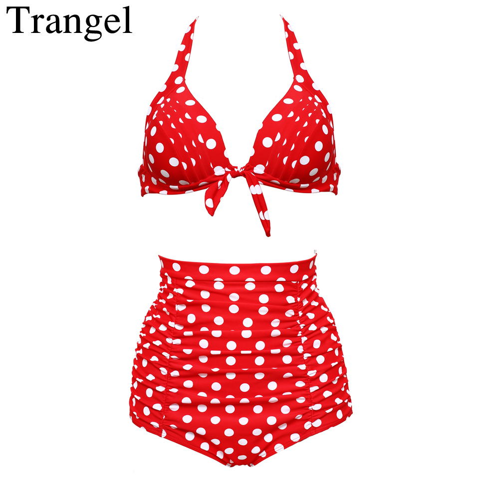 Trangel Swimsuit Women Plus Size Bikini 2017 High Waist Sexy Swimsuit Cherry Swimwear Bathing Suit Push Up Bikini Set 3xl 4xl ningfein new plus size bikini set women swimwear sexy swimsuit floral striped print high waist bikini 2018 bathing suit swimwear