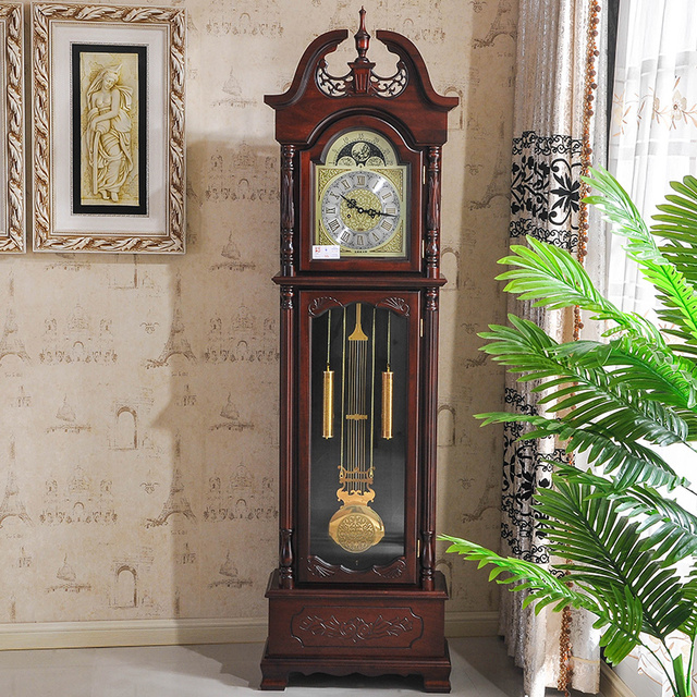 Closet Park Continental Mechanical Watches Wood Floor Living Room Clock  Pendulum Standing American Craft Clock 8501
