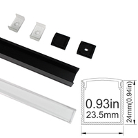 UnvarySam1M Black Clear LED Aluminum Channel Anodized Extrusion For 20mm 5050 3528 LED Flex Hard Strip