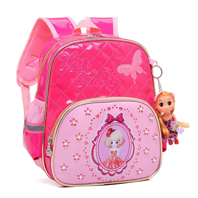f423d160e81e 3-6 лет девочки Начальная школа школьный ранец принцесса розовый мультфильм Рюкзак  Детские Девочки Школьные