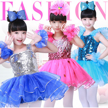 Girls Latin dance costume childrens chorus costumes sequins cheerleading children latin dress