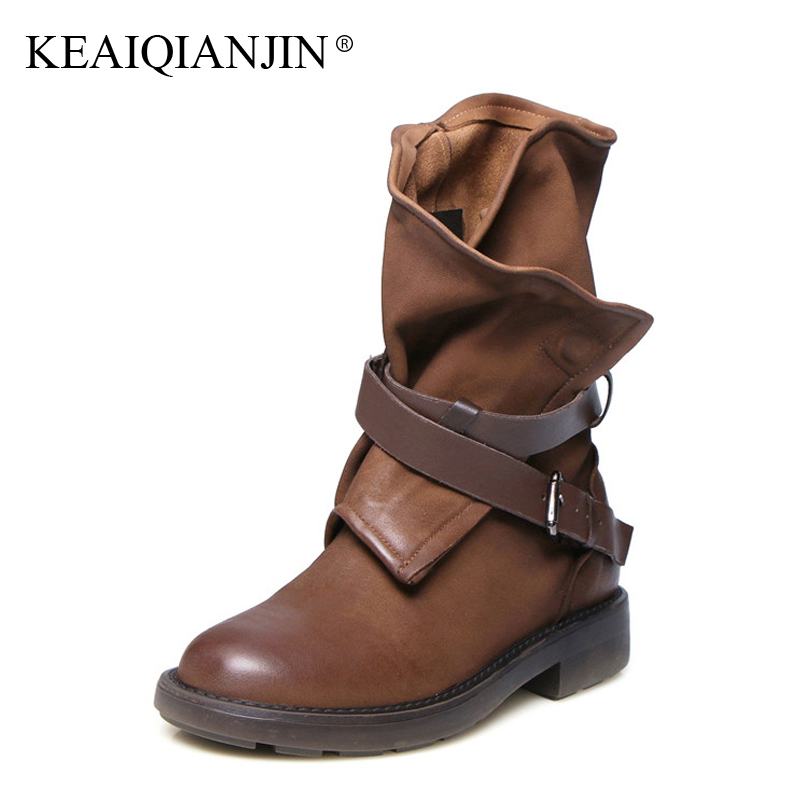 KEAIQIANJIN Woman Genuine Leather Riding Boots Black Brown Retro Buckle Martens Boots Autumn Winter Genuine Leather Ankle Boots цена