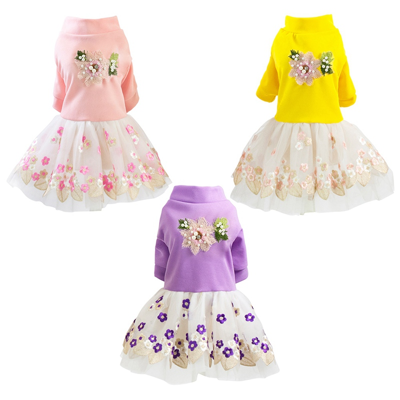 Pet Spring Summer Embroidered Princese Skirt, Small and Medium Pearls Wedding Birthday Party <font><b>Dogs</b></font> <font><b>Dress</b></font>, S / M / L / XL / <font><b>XXL</b></font> image