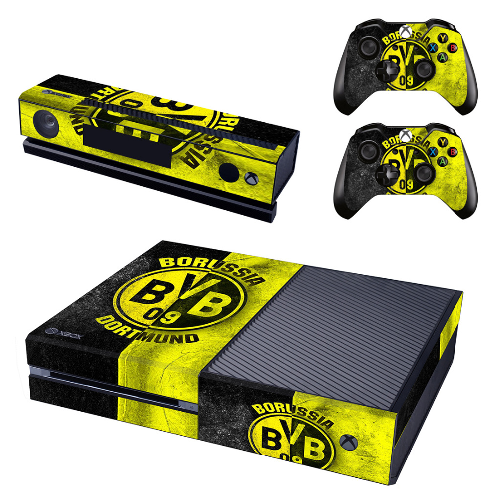 Borussia Dortmund BVB Football Team Skin Sticker for Microsoft Xbox One Kinect and Console and 2 Controllers Vinyl Game Stickers