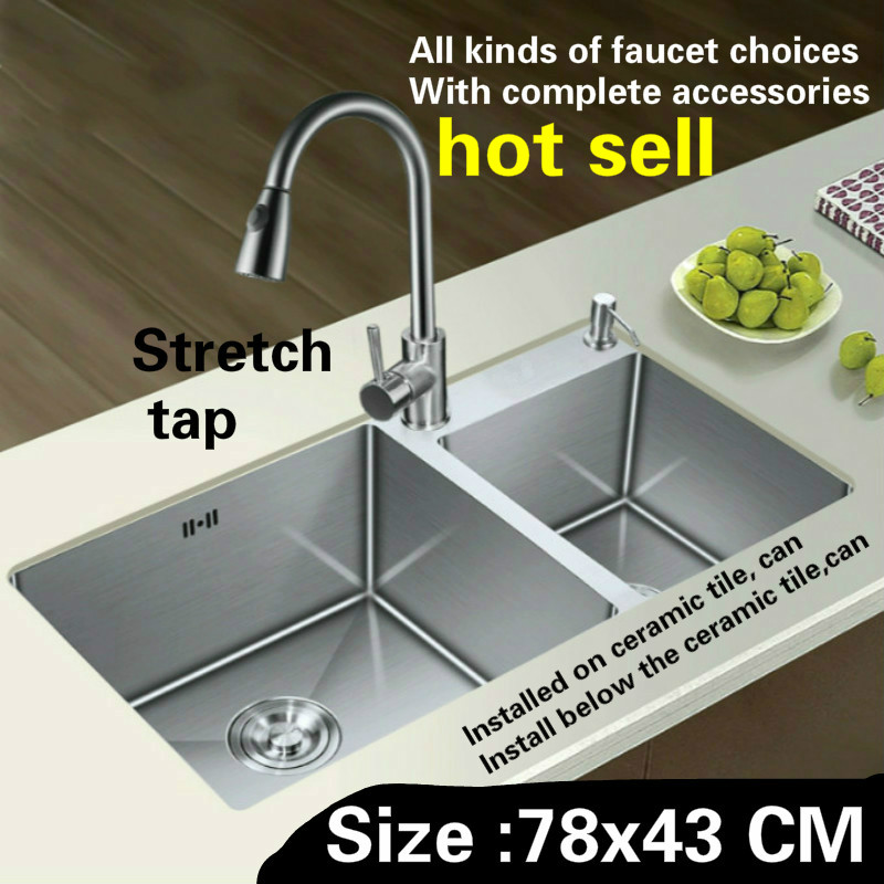 Free Shipping Hand Made Of 304 Stainless Steel Kitchen Sink Stretch Tap Thickening Double Groove Durable Hot Sell   780x430 MM