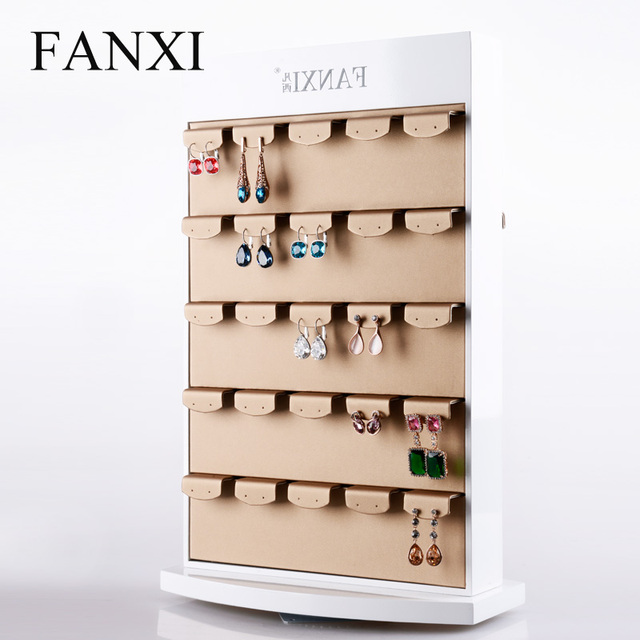 Rotating Earring Display Stands Free Shipping Pu Leather Holder Jewelry 2