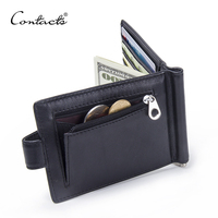 CONTACT S Fashion Genuine Leather Money Clips High Quality Cow Leather Men Wallets Hasp Mini Purses