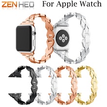 ZENHEO New Women Watch band for Apple Watch Bands 38mm/42mm Adjustable Stainless Steel Strap for iwatch series 3 2 1 Bracelet цена