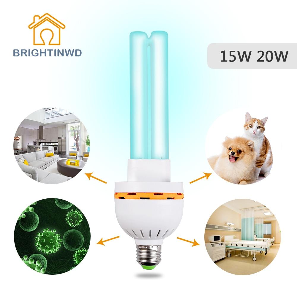 UV Sterilizer Home Ozonizer Ultraviolet Lamp 220V UV Bulb Disinfection Germicidal E27 15W 20W Lights Lamp for Home BRIGHTINWD uvc germicidal cfl lamp bulb voltage 220v wattage 25w 15w base type e27 screw base compact sterilizer bulb