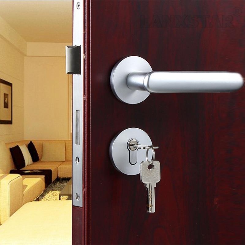 ФОТО New Space Aluminum Door Lock European Style Large Knob Mechanical Locks Split-lock Hardware Accessories Indoor-lock