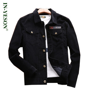 New Arrival IN-YESON Brand Corduroy Jacket Spring Autumn Loose Embroidery Turn-down Collar Shirt Jacket Plus Size 4XL Chest 128