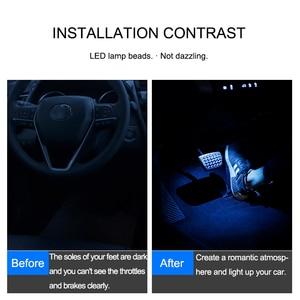 Image 5 - QHCP LED רכב אורות אווירת סוליות הסביבה מצב רוח מנורת פנים דקורטיבי רגל אור Fit עבור טויוטה קאמרי 2018 אביזרי רכב