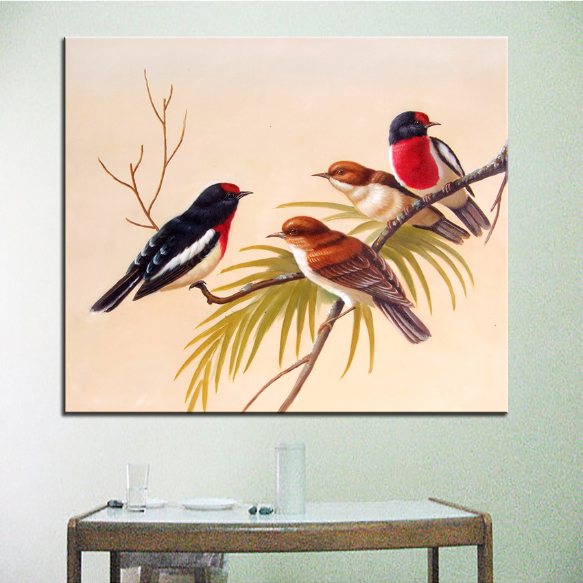 Wall Art, Wall Decor, Wall Painting Four sparrows Digital oil ...