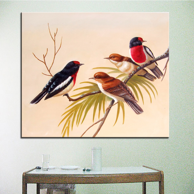 Wall art wall decor wall painting four sparrows digital oil wall art wall decor wall painting four sparrows digital oil painting print nice thecheapjerseys Gallery