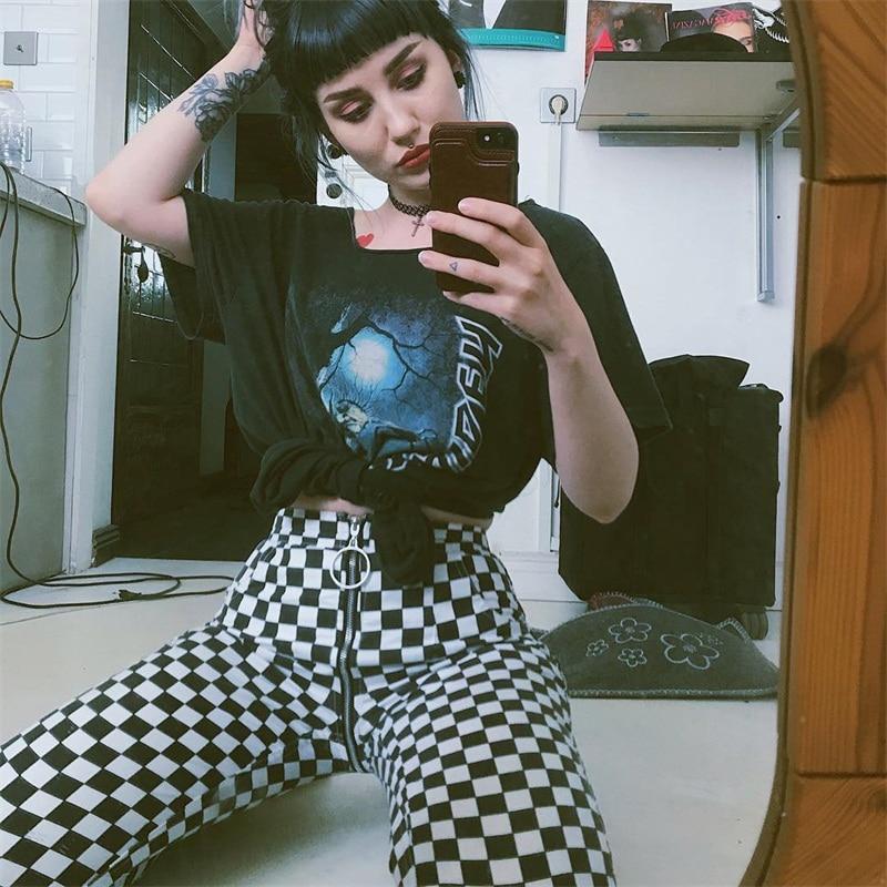InstaHot Plaid Zipper Checkered Straight Pants Women Fashion Casual Slim Pockets Long Pants Black White Pencil Pantalon Femme 5
