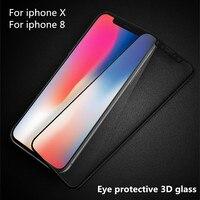 3D стекла отказ Blue Ray ущерба для IPhone X 8 высокой четкости 0.23 тонкий полный защитный глаза и экран стекло для iPhone 8 x