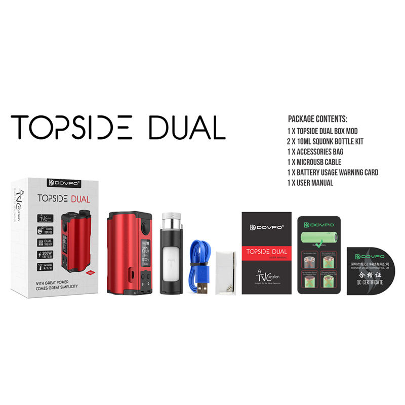 Original 200W DOVPO Topside double remplissage supérieur TC Squonk MOD avec 10ml Squonk bouteille e-cig Vape boîte Mod VS glisser 2/Naboo Mod - 6