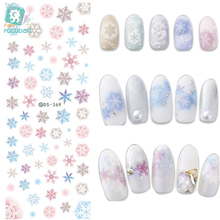лучшая цена DS369-370  Water Transfer Nails Art Sticker 2017 New Year Winter Snowflake Xmax Harajuku Nail Wrap Sticker Tips Manicura sticker