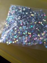 G10D4-3 50g/bag Star Glitter Holographic Silver/Gold/Iridescent White, solvent-resistant glitter hologram small stars,