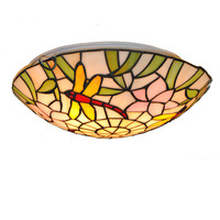 16 Tiffany Style Stained Glass Dragonfly Ceiling Lamp 3 Lights European Vintage Dining Room Bedroom Flush Mount Light Lighting