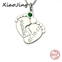 купить XiaoJing 925 Sterling Silver personalized Baby Feet with Birthstone Custom Engraved Name&Date Pendant Necklace for Baby Gift по цене 1559.49 рублей