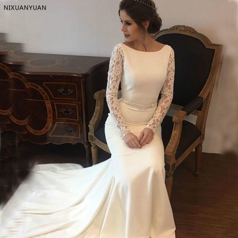 Elegant Mermaid Wedding Dresses With Long Lace Sleeves Satin Bridal Gowns Backless Sweep Train Vestidos De Novia Beach Dresses