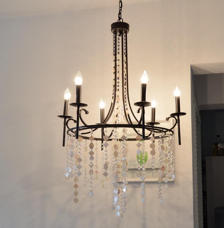 Kitchen Bar vintage black shell lamp chandelier crystal lampara large iron  chandelier luster hotel bedroom led
