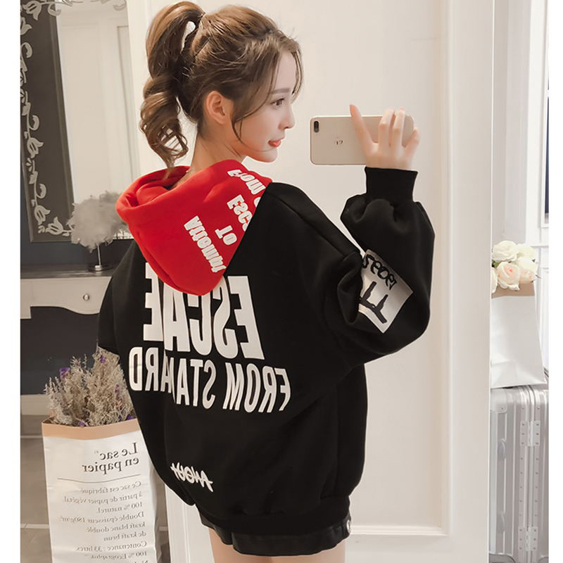 Hoodies Women 2019 Women Fashion Sweatshirts Long Sleeve Hoodies Print Letter Female Tracksuits Sportswear Moletom Feminino 2XL(China)