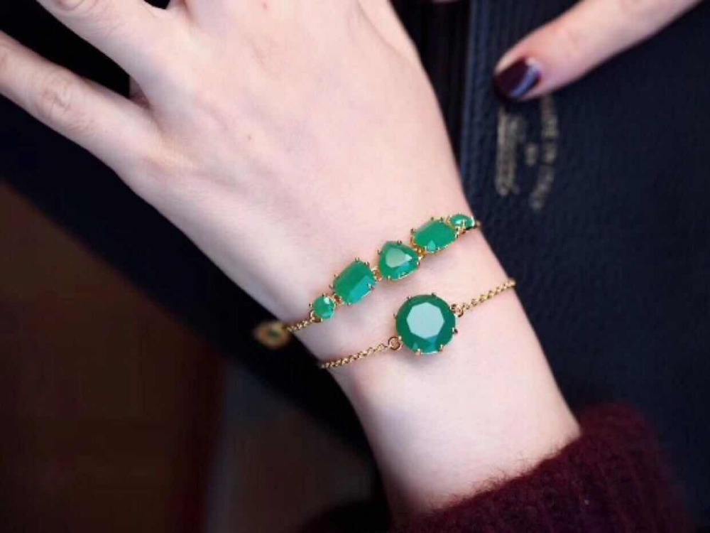 2019 Amybaby Womens Faceted Green Glass Crystal Bracelet for Party
