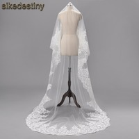 New 2017 Real Images High Quality 3 Meter One Layer Elegant Luxury Long Wedding Veil Bridal