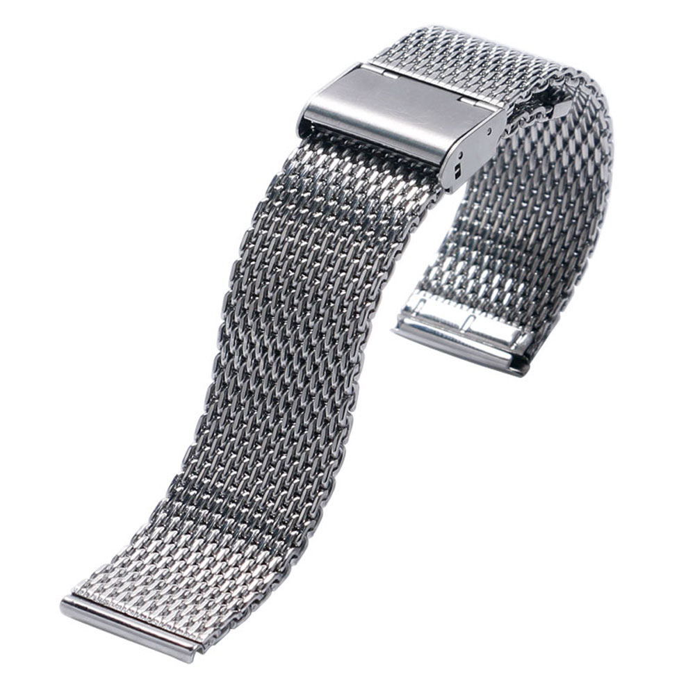 Fashion Silver Hook Buckle Silver Watch Band Stainless Steel Mesh 20mm 22mm Watch Strap High Quality Bracelet + 2 Spring Bars