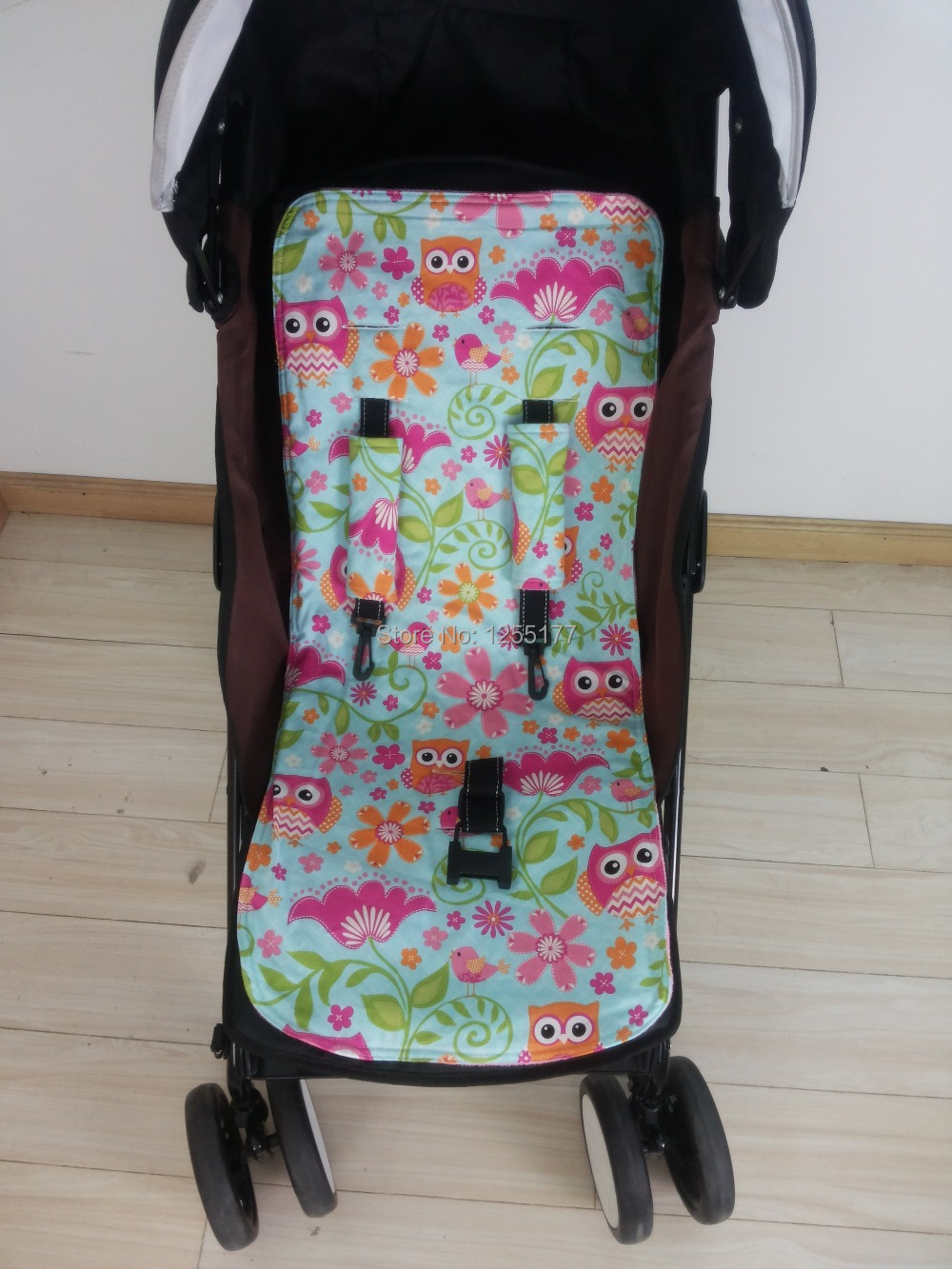 Two Side Revisiablebaby Pram Linerstroller Linercar Seat Liner Owl And Pink Minky Match Safty Belt Cover Free Shipping In Three Wheels Stroller From