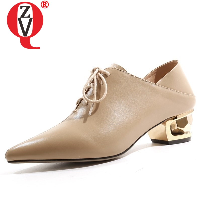 ZVQ 2019 spring new fashion genuine leather women pumps 4 cm strange style pointed toe cross